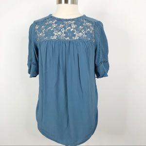 LOFT Lace Detail Ruffle Short Sleeve Top Blue M